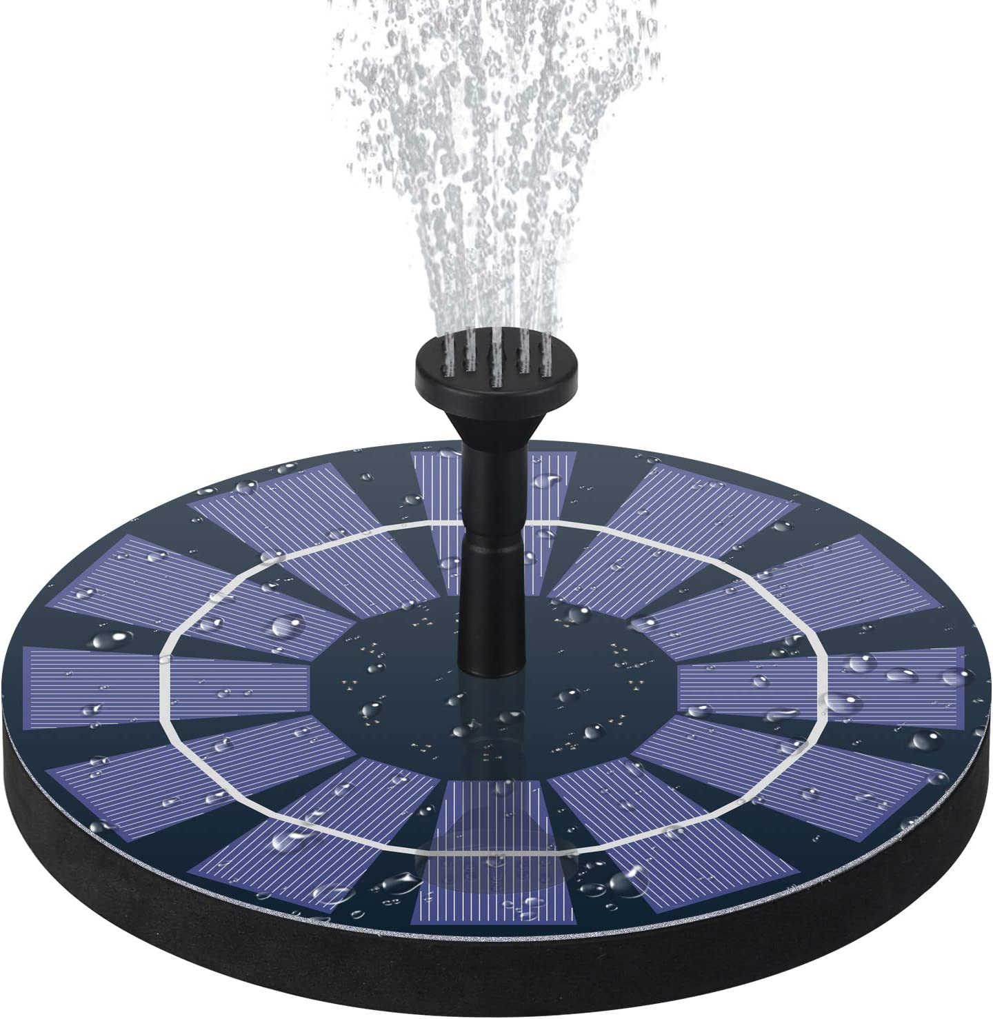 Solar Fountain Pump for Bird Bath with Battery Backup, 2.5W Solar Powered Water Fountain for Small Pond,Garden