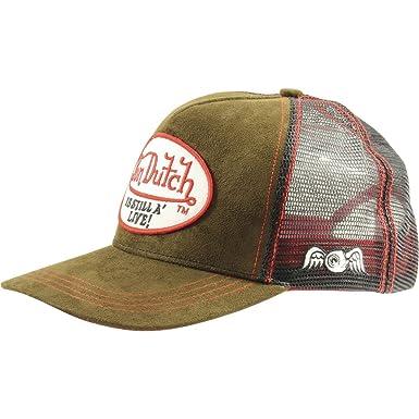 493301a7 Amazon.com: Von Dutch Men's Patch Still Alive Leather Trucker Hat-One Size  Brown/Black: Clothing