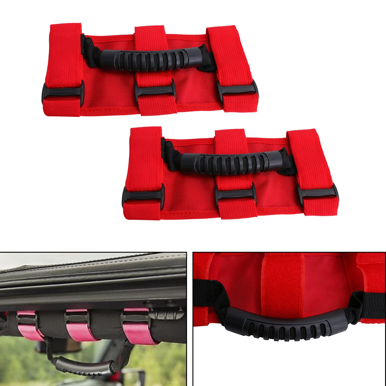 BOXATDOOR Roll Bar Grab Handles X 4 For Wrangler YJ TJ JK JKU 1987-2016, Triple Strap Roll Bar Grab Grip Handles Black Fit For Jeep Wrangler JK/CJ/ YJ/ TJ 1987-2015