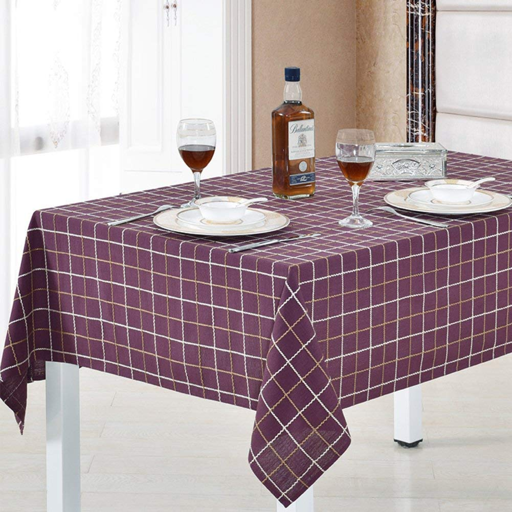 WCZ Garden Home Tablecloth Flax Plaid Table Cloth Table Cloth Covering Cloth round Table,AA,90x90cm(35x35inch)