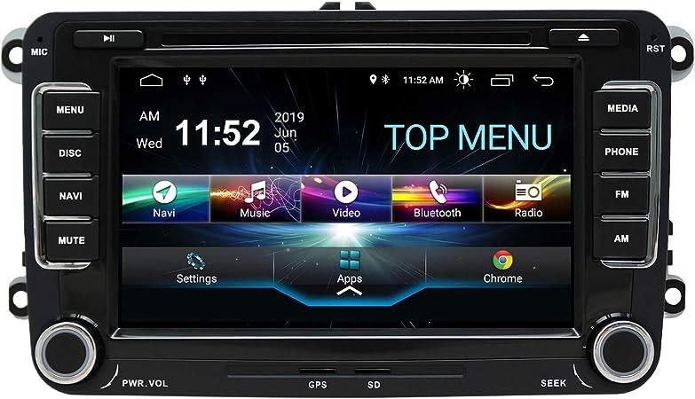 Swtnvin Android 10 0 Auto Audio Stereo Kopfeinheit Passt Für Volkswagen Skoda Dvd Player Radio 7 Zoll Hd Touchscreen Gps Navigation Mit Bluetooth Wifi Lenkradsteuerung 2gb 16gb Navigation