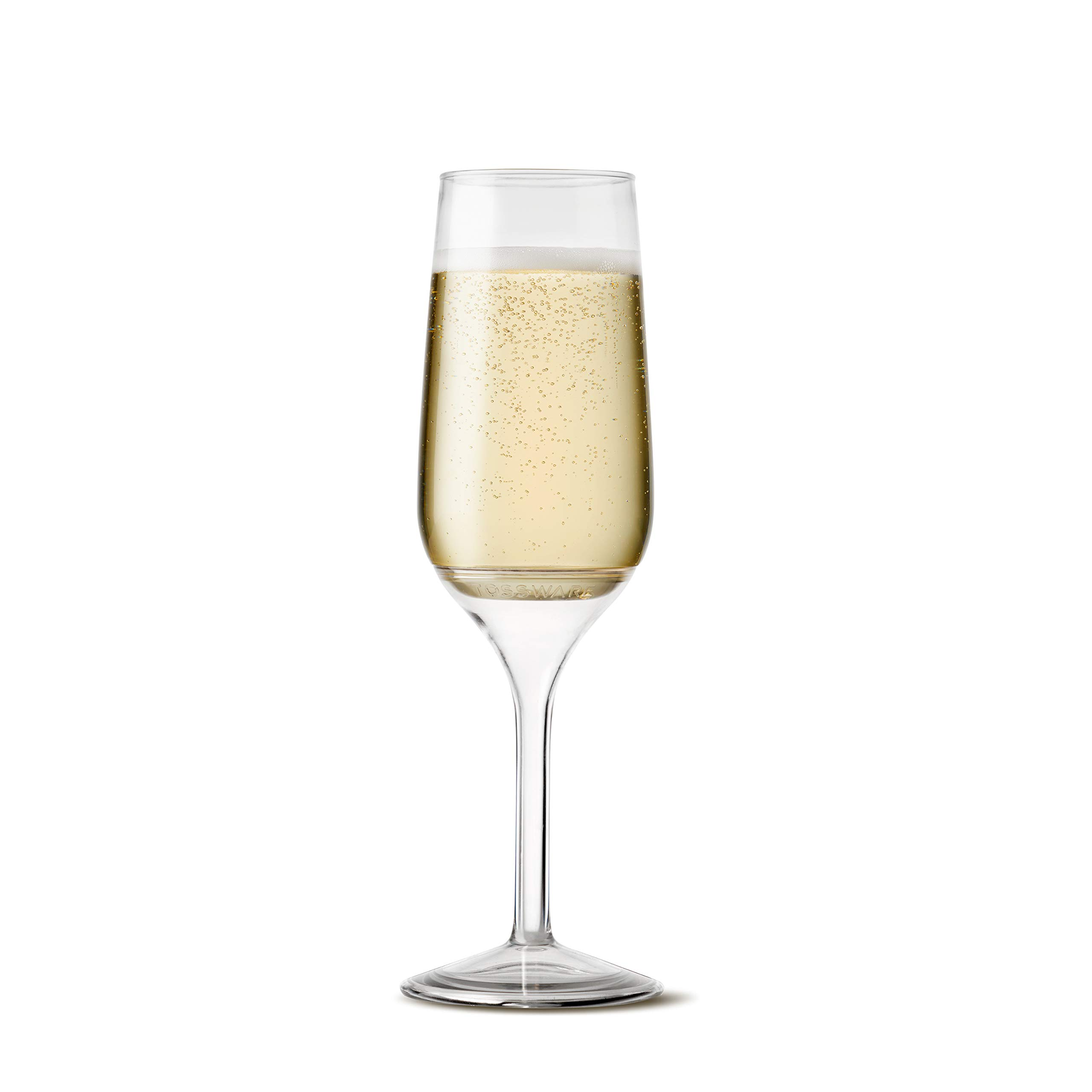 TOSSWARE 6oz Stemmed Flute - recyclable champagne plastic cup - SET OF 12 - detachable stem, shatterproof and BPA-free flute glasses by TOSSWARE