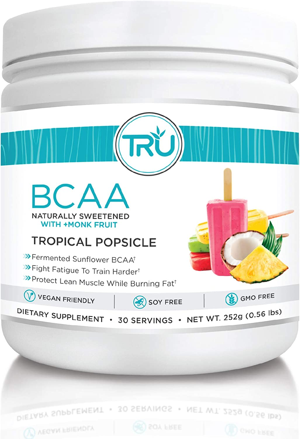 TRU BCAA Powder, Plant Based Branched Chain Amino Acids, Vegan Friendly, Zero Calories, No Artificial Sweeteners or Dyes, Improve Fat Loss 30 Servings, Tropical Popsicle