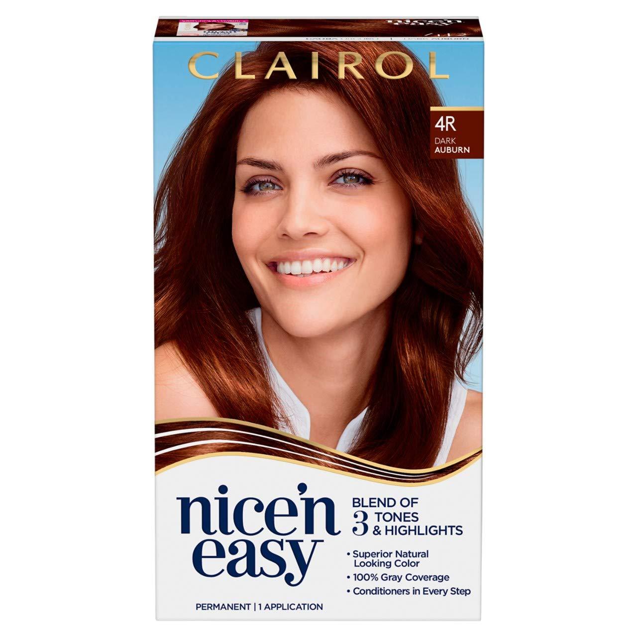 Clairol Nice'n Easy Permanent Hair Color, 155R Dark Auburn, 15 Count