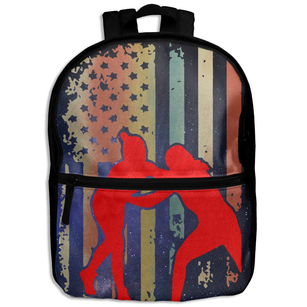Wrestling Wrestler USA Flag Pride Kids Character Casual School Backpacks Daypack