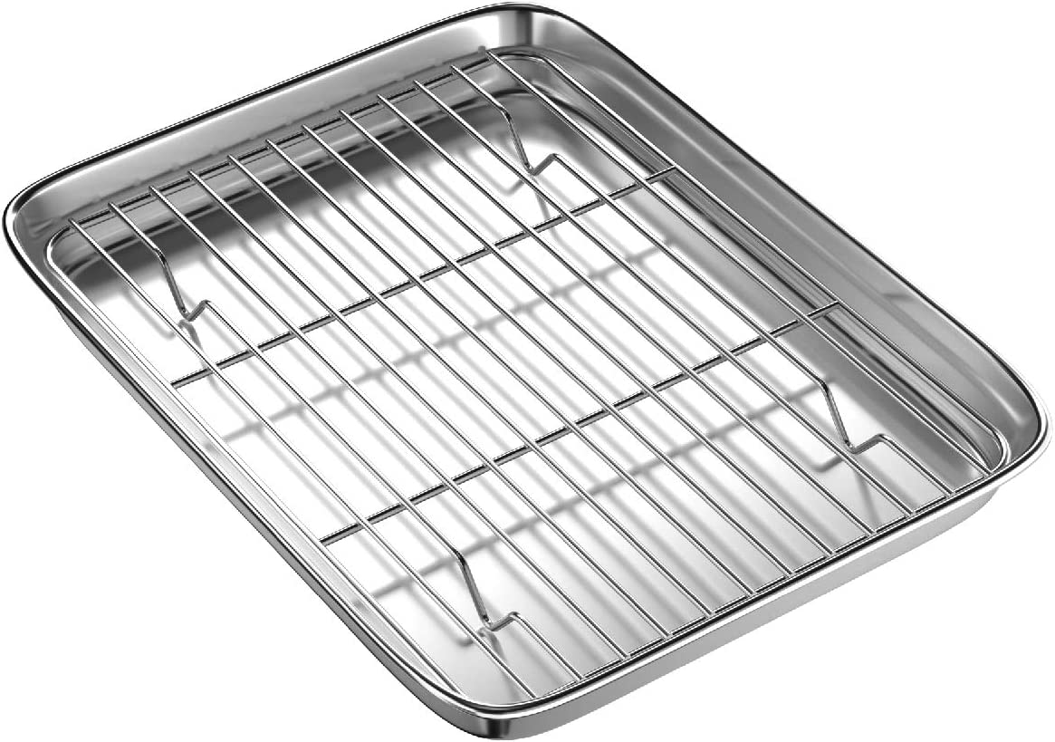 Toaster Oven Tray and Rack Set, BYkooc Small Stainless Steel Baking Pan with Cooling Rack,10.5 x 8 x 1 inch,Dishwasher Safe Baking Sheet, Anti-rust, Sturdy & Heavy.