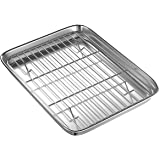 Toaster Oven Tray and Rack Set, BYkooc Small Stainless Steel Toaster Oven Pan with Rack,10 x 8 x 1 inch,Dishwasher Safe Oven