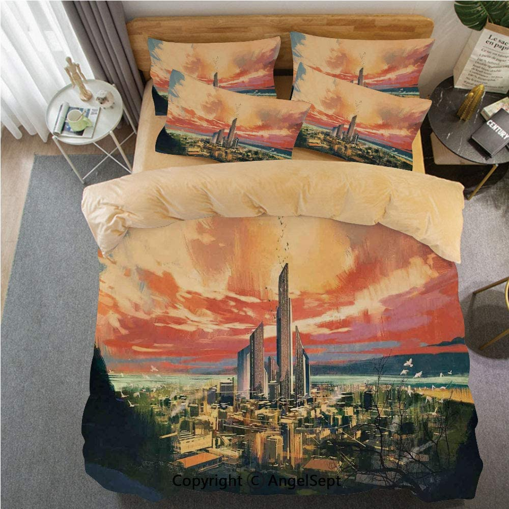 SfeatrutMAT Crystal Velvet Duvet Cover Set,Cityscape,Modern City by Harbor with Sailing Yacht Skyscrapers Artsy Painting Style Print,4 Pieces Zippered Comforter Cover Set Queen,Khaki