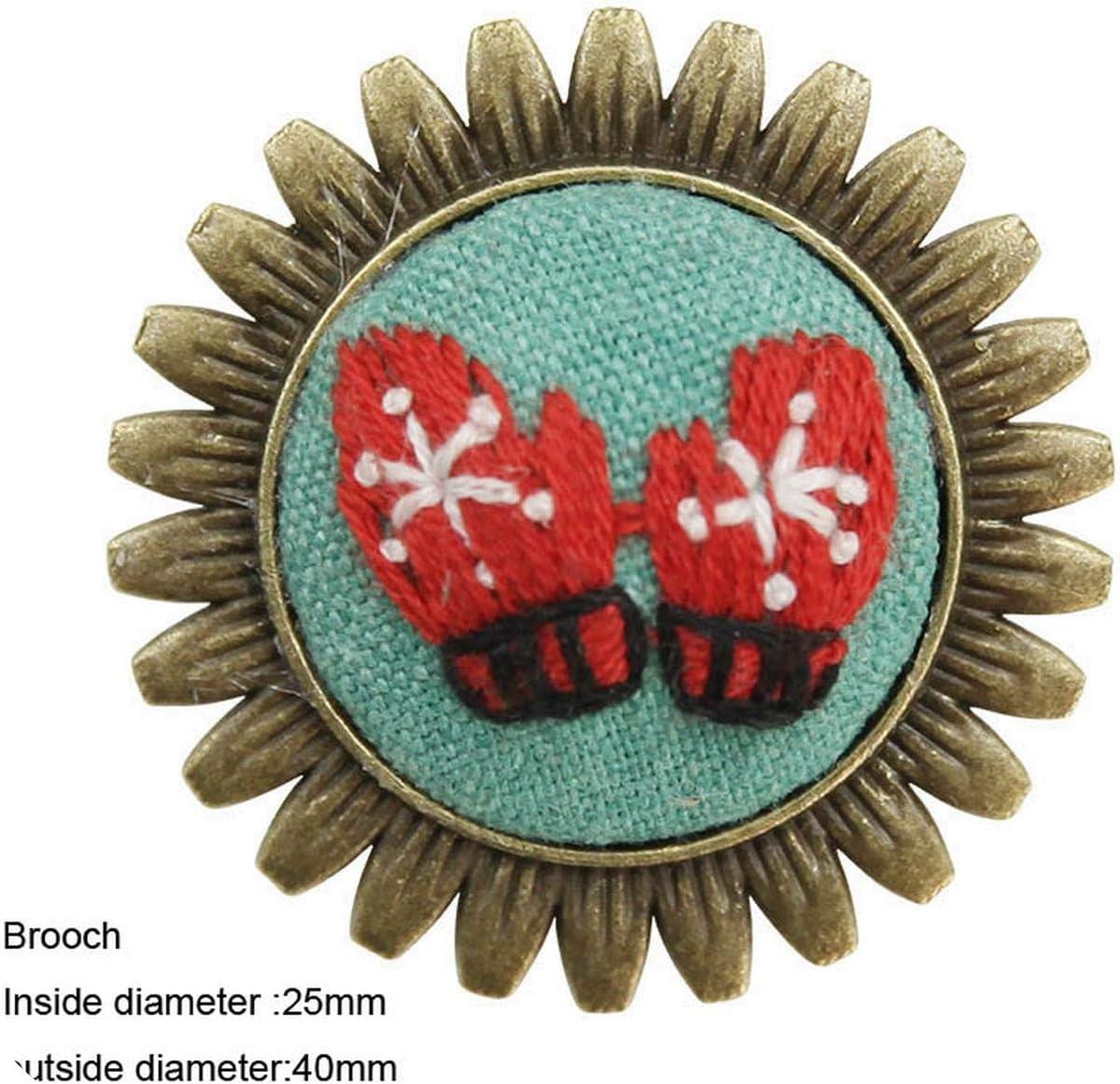 Kits de bordado de broche de collar, conjuntos de punto de cruz de flores de bricolaje con aro artesanía columpio hecho a mano regalo creativo sin terminar con un aro de plástico