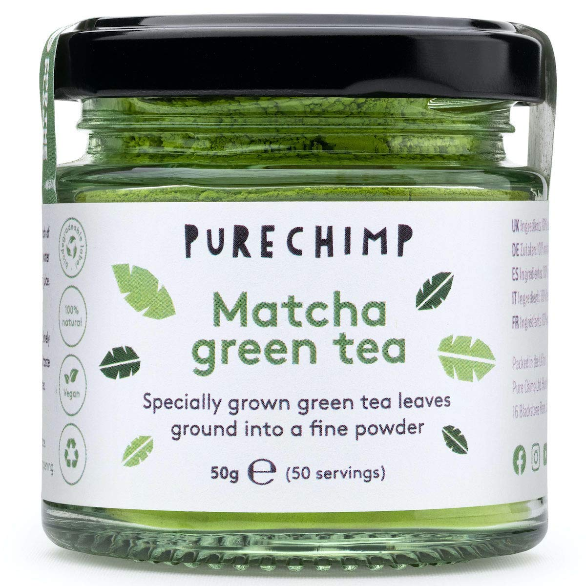 Matcha Green Tea Powder 50g (1.75oz) by PureChimp - Ceremonial Grade Matcha Green Tea Powder From Japan - Pesticide-Free - Recyclable Glass + Aluminium Lid (Regular)