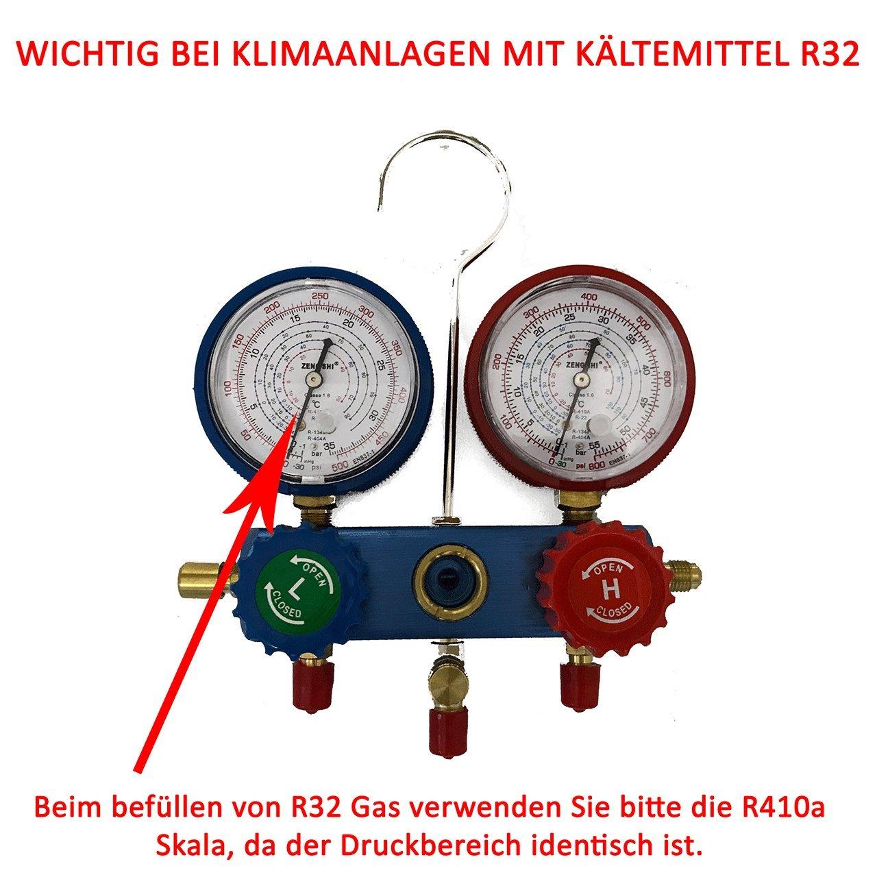 R32 f/ür Splitklimaanlagen Monteurhilfe R410a