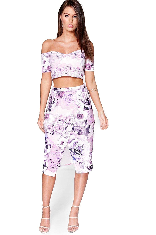 Multi Womens Pia Floral Wrap Midi Skirt & Crop Top Co-Ord Set