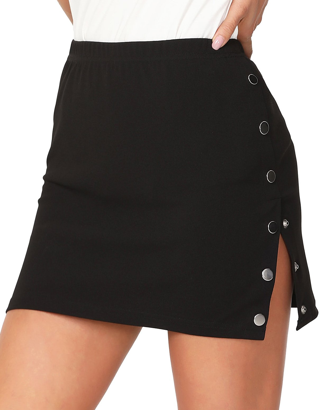 Floerns Women's Buttoned Side Fitting Skirt Black L