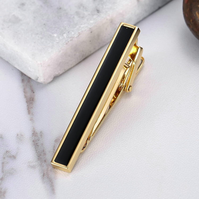 Aokarry Mens Tie Clips Black Enamel Tie Bar Clips Golden Stainless Steel