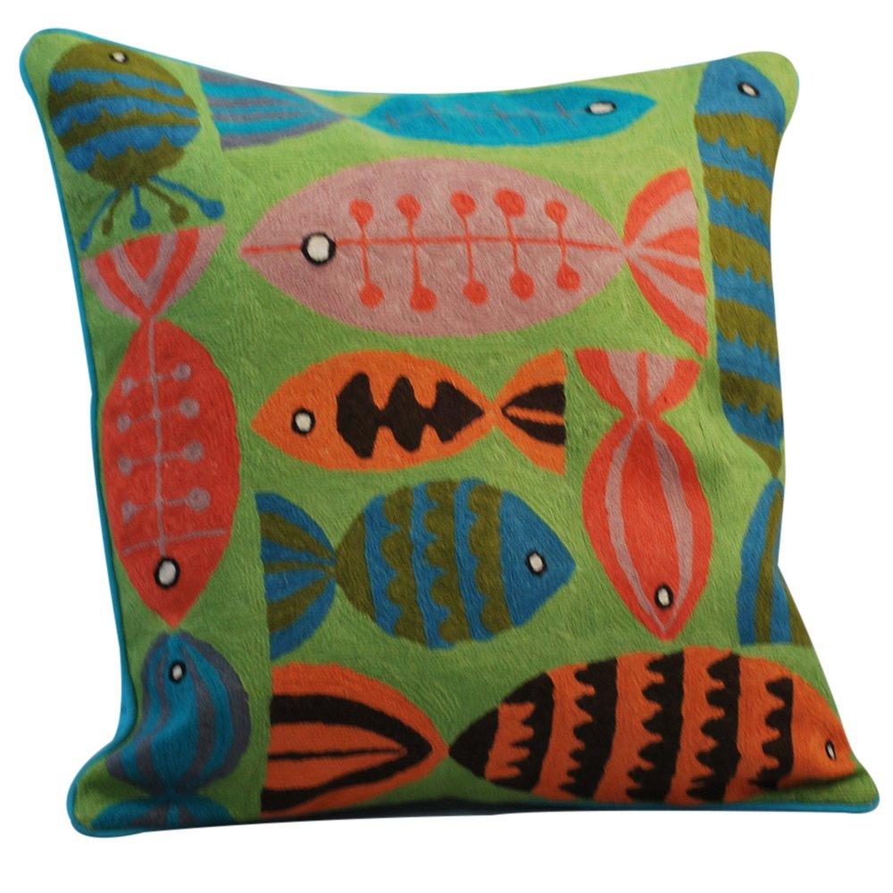 Crewel作業枕with魚デザイン、グリーン B01AX6ZO1K