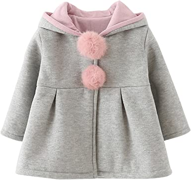 Baby Girls Kids Toddler Fur Hooded Coat Winter Rabbit Bunny Ear Jacket Outerwear