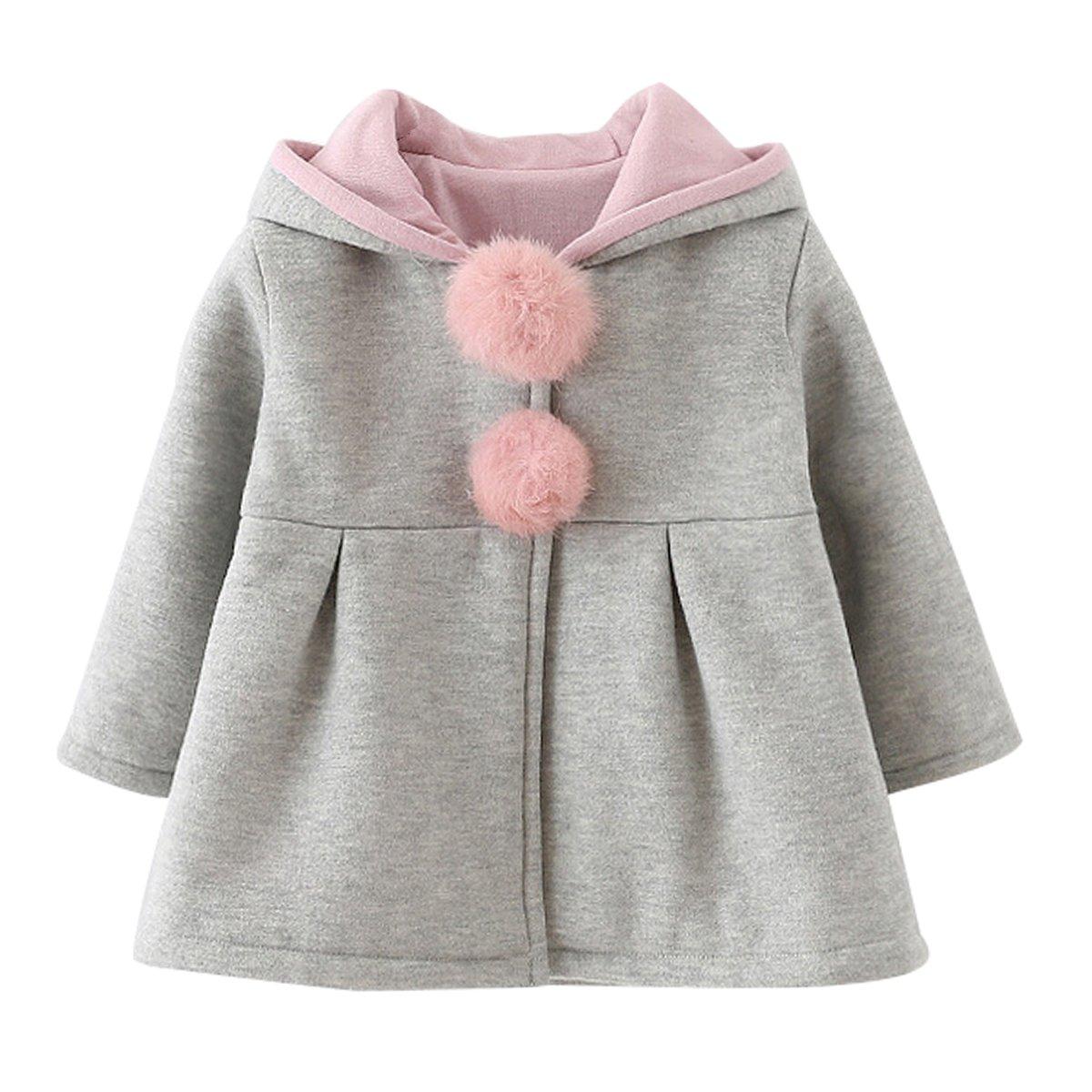 Evaliana Baby Girls Kids Toddlers Rabbit Bunny Ears Hoodie Outwear Jacket Coat