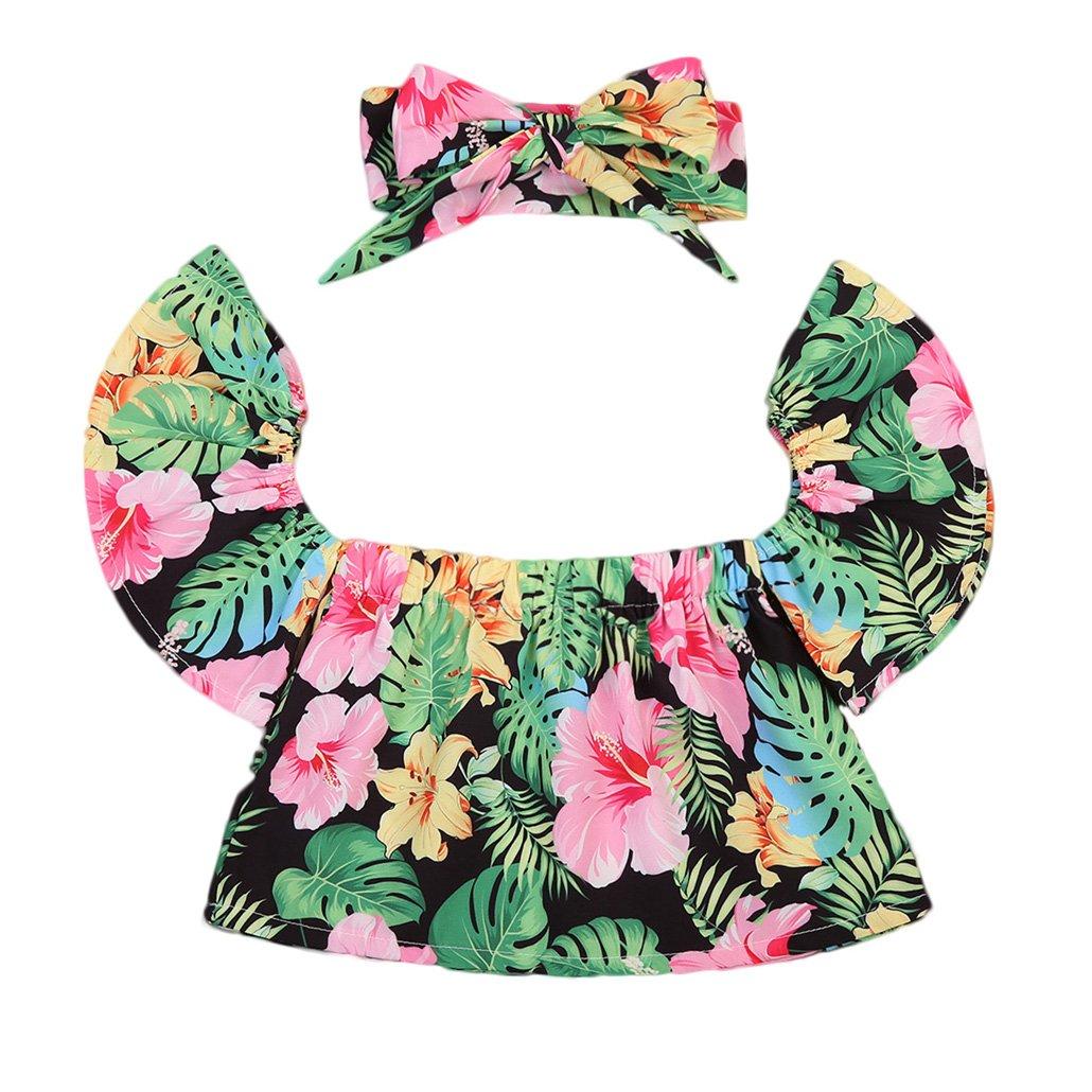 2017 Baby Girls Off Shoulder Boho Print Floral Blouse Top + Bandage Headband Outfit Set