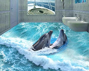 ShAH Benutzerdefinierte Fototapete Aufkleber Dolphin Stereo ...