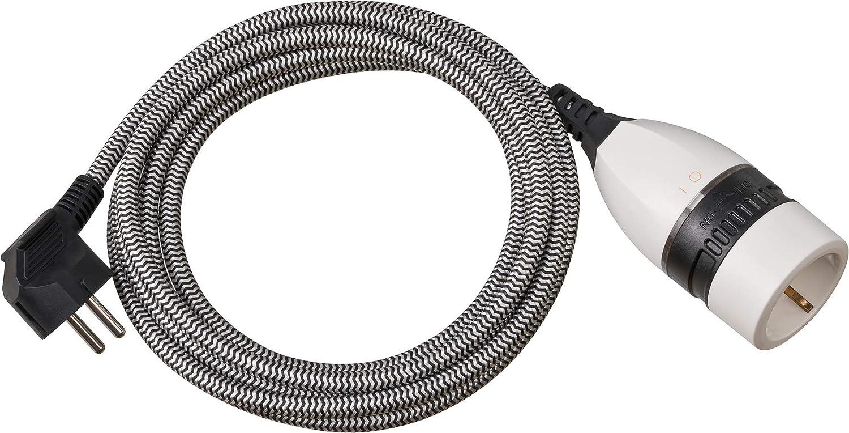 /negro//blanco Brennenstuhl Cable alargador de corriente textil 3 metros con interruptor iluminado alargador el/éctrico, cable de 3 m, interruptor giratorio