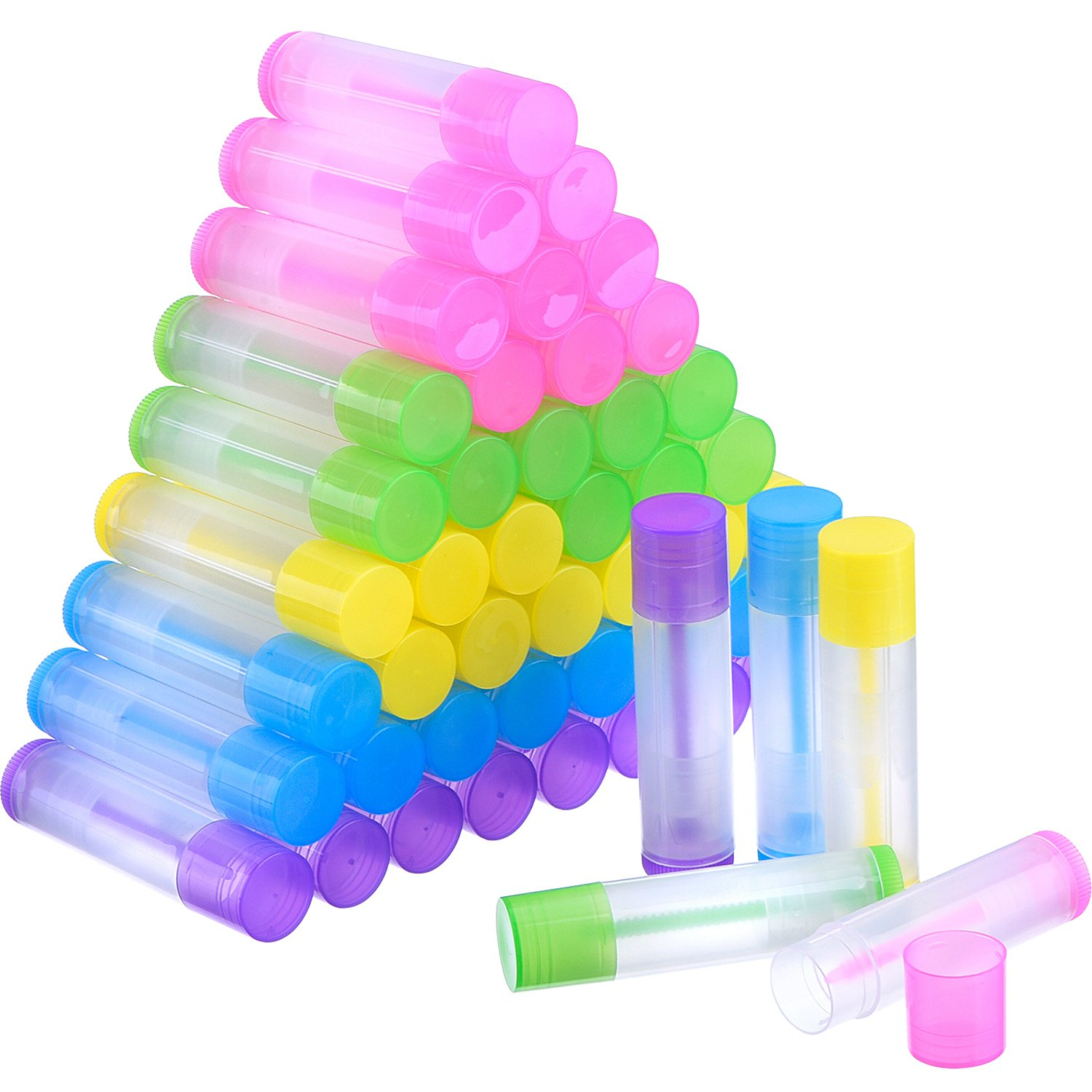 eBoot 50 Pieces Lip Balm Empty Container Clear Tubes with Twist Bottom and Top Cap, 3 16 Oz 5.5 ml Multicolor