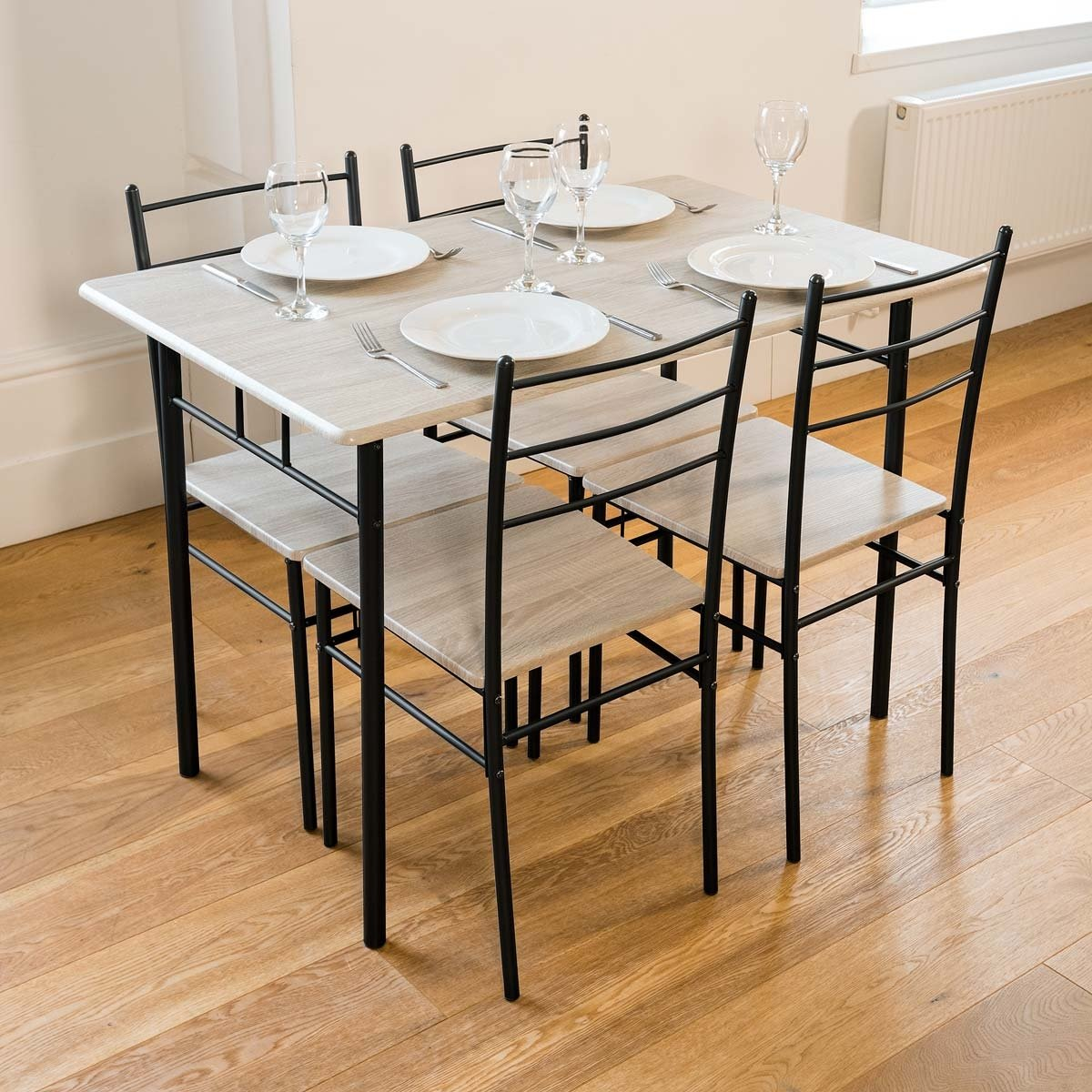 Small Wood Table And Chairs: Small Grey Wooden Black Metal Dining Table And 4 Chairs