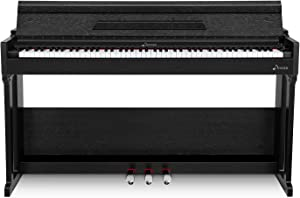 Donner DDP-90 Home Digital Piano, 88 Key Fully Weighted Electronic Keyboard, Triple Pedals, Black, USB/ MP3/ Headphone/Audio Output Function