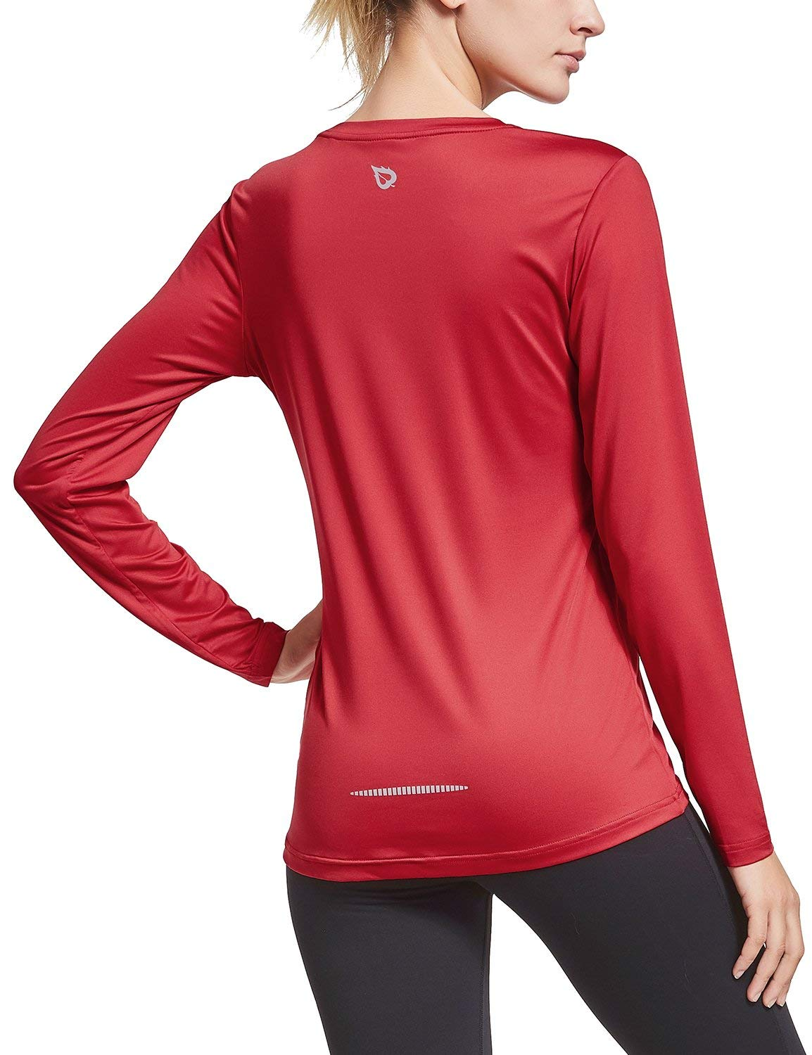 BALEAF Women's Long Sleeve T-Shirt Quick Dry Running Workout Shirts Red Size XXL by BALEAF