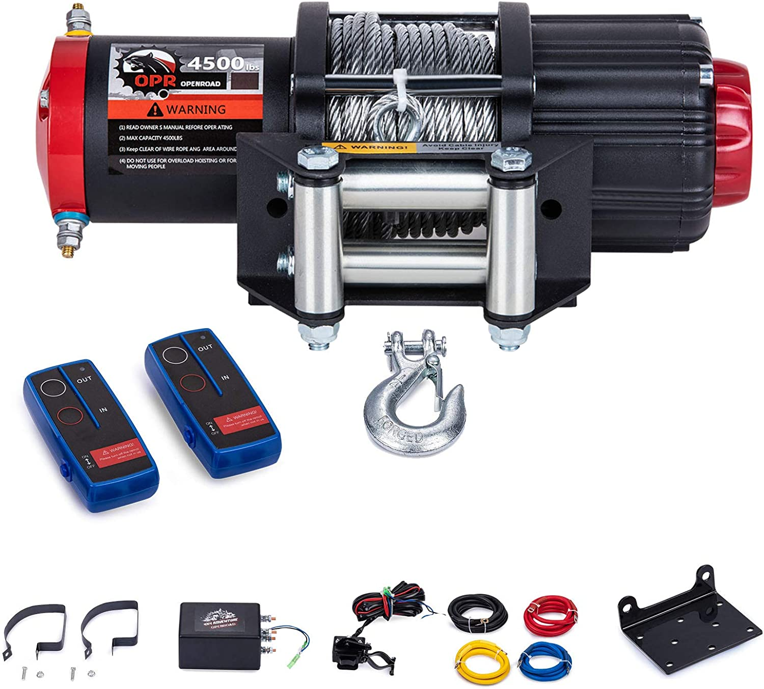 Come with Wireless Handheld Remote Control OPENROAD 3500lb ATV//UTV Winch with 12m Cable,12V Electric Winch Kit for Boat Trailer,Recovery Winch Kit