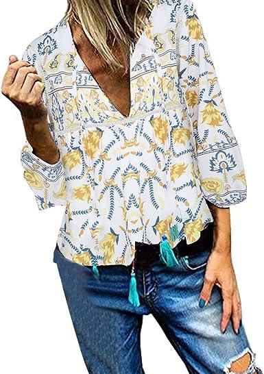 COZOCO Camisa Casual para Mujer Camisa A Rayas con Botones En El Bolsillo: Amazon.es: Ropa y accesorios
