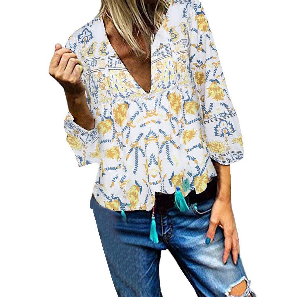 ❣❥HebeTop❥❣ Women Floral Print V Neck Button Decor Peasant Summer Swing Tunic Tops Shirts Yellow by HebeTop➟Women's Clothing