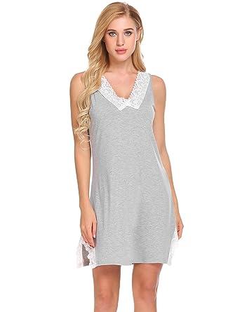 dc1e1ae386 UNibelle Women Sleep Dress Womens Nightshirts V-Neck Sleeveless Sleepwear  (Gray S)