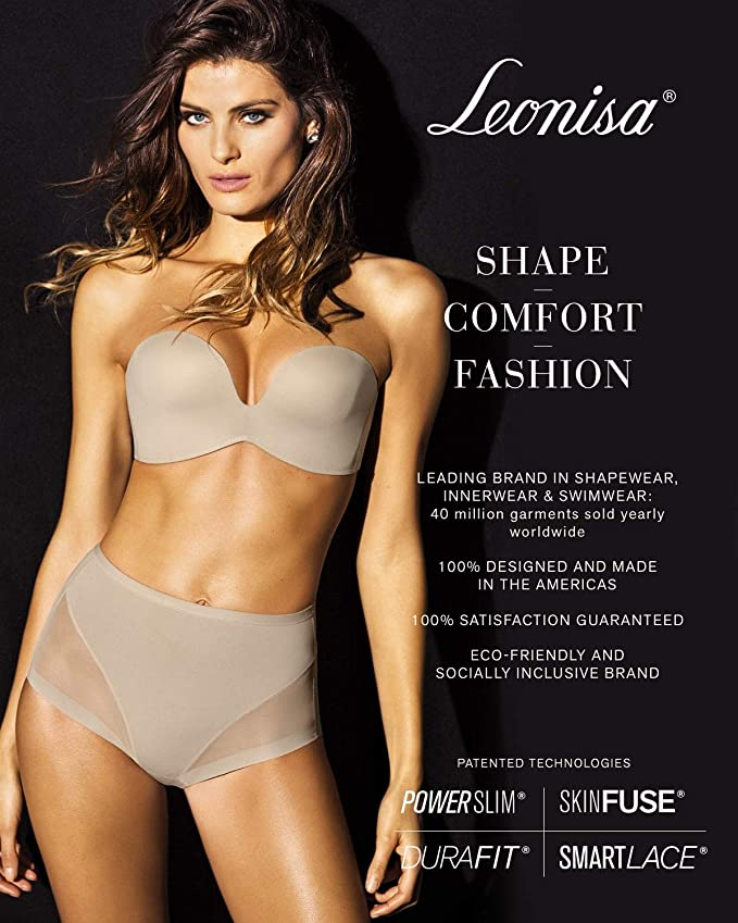 2784a60f5cc05 Leonisa Undetectable Edge Moderate Compression Body Shaper with Lace Trim  No Roll Up Shorts Butt Lifter Shapewear for Women at Amazon Women s  Clothing store ...