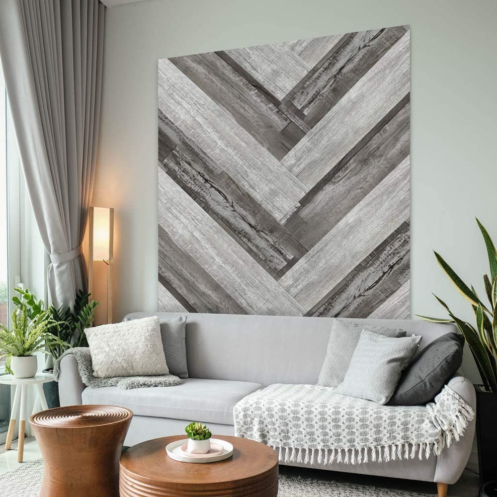 Urban Decor Vinyl Wall Panels with Vintage Wood Pattern, Easy Peel and Stick, Removable Reusable Traceless Adhesive Tape 36in x 6in (12pcs/Box = 18sqft/Box) (Grey)