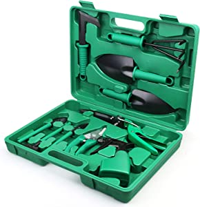 Royalsellpro Garden Tools Set, 10 Pieces Gardening Tools, Heavy Duty Gardening Kits with Carrying Case, Anti-Rust Ergonomic Handle, Gardening Gifts for Female, Men, Gardeners