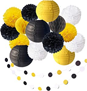 17 Pack Bee Party Baby Shower Decoration Yellow Black Hanging Paper Lantern Honeycomb Balls Tissue Paper Pom Poms Circle Paper Garland for Bumblebee Boy Girl First 1st Birthday Bridal Photo Backdrop