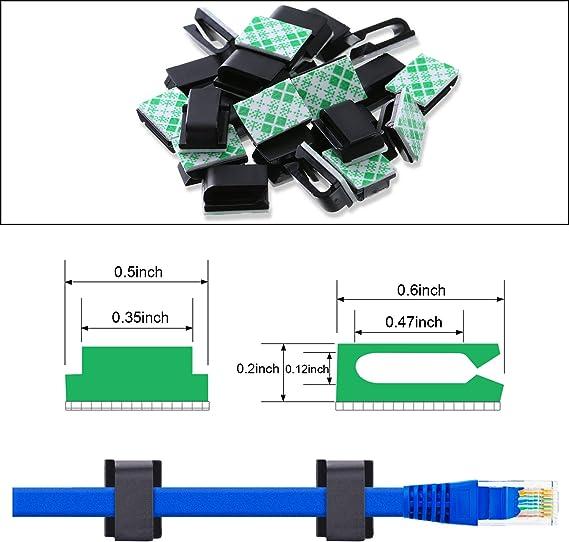 PC etc 100 Pi/èces Clips pour Cable Attaches de Cable Clips de C/âble Adhesive Attaches Ajustables en Nylon pour Cable et Colliers de C/âble Adh/ésifs pour Organiseur de Fils Electriques TV Chargeur