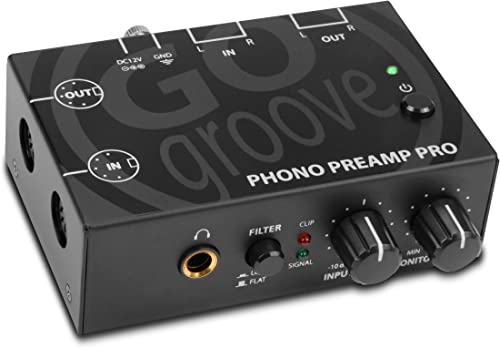 GOgroove Phono Preamp Pro Preamplifier with RCA Input Output, DIN Connection, RIAA Equalization, 12V AC Adapter – Compatible with Vinyl Record Players, Turntables, Stereos, DJ Mixers