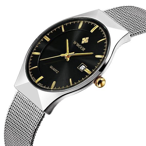 WWOOR Reloj de pulsera para hombre, correa de malla de acero inoxidable ultra fina,