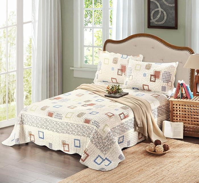 Tache Home Fashion DSW009-Full Tache 3 Piece Textured Matelassé Bedspread Set, Full, Cubic Square