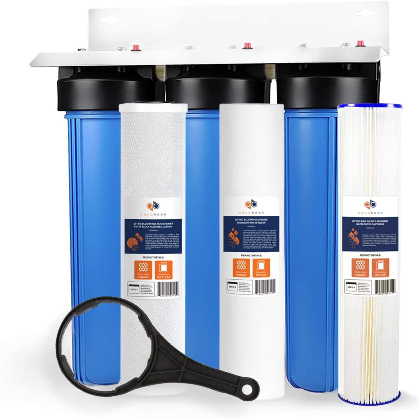 """20*4.5/"""" Big Blue Housing Sets 3 Stage Whole House Water Filter System 1/"""" Port"""