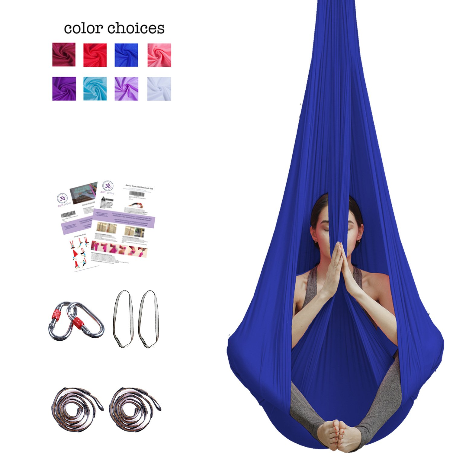 Aum Active Aerial Yoga Hammock - Include Aerial Silk Fabric, Carabiners, Extension Straps, 30-Day Pose Guide - Premium Yoga Swing for Antigravity Exercises, Inversion & Sensory Therapy (Navy)