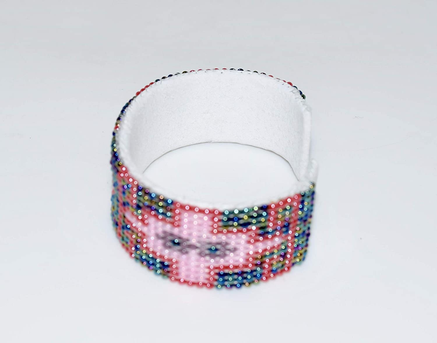 Colorful Quality Native American Hand Beaded Cuff Bracelet
