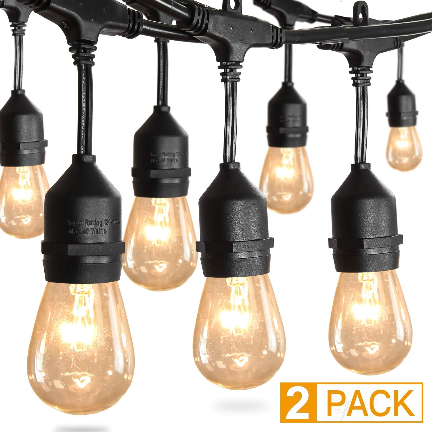 Amico 2 Pack 52FT Waterproof Outdoor String Lights with Hanging Edison Bulbs Commercial Grade Patio Café Lights - Great for Cafe Bistro Ambience in Your Garden