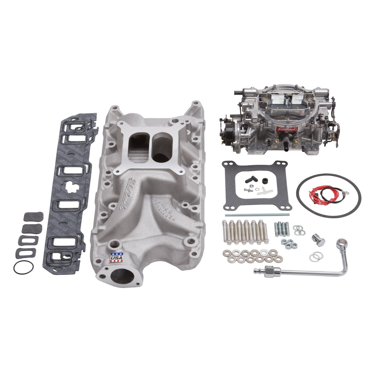 Edelbrock 2032 Single-Quad Manifold And Carb Kit Performer RPM Manifold w/800cfm Thunder Series Carb Carb/Fuel Line/Intake Bolts/Gaskets Natural Finish For Small Block Ford Single-Quad Manifold And Carb Kit by Edelbrock (Image #2)
