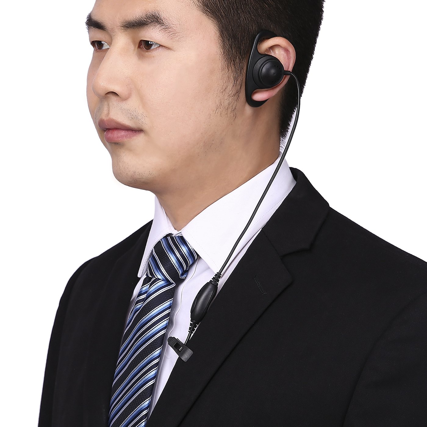 HDE Earpiece For Kenwood Radios D Shape Comfort Fit 2-Pin with PTT Mic for Kenwood and Baofeng Walkie Talkies