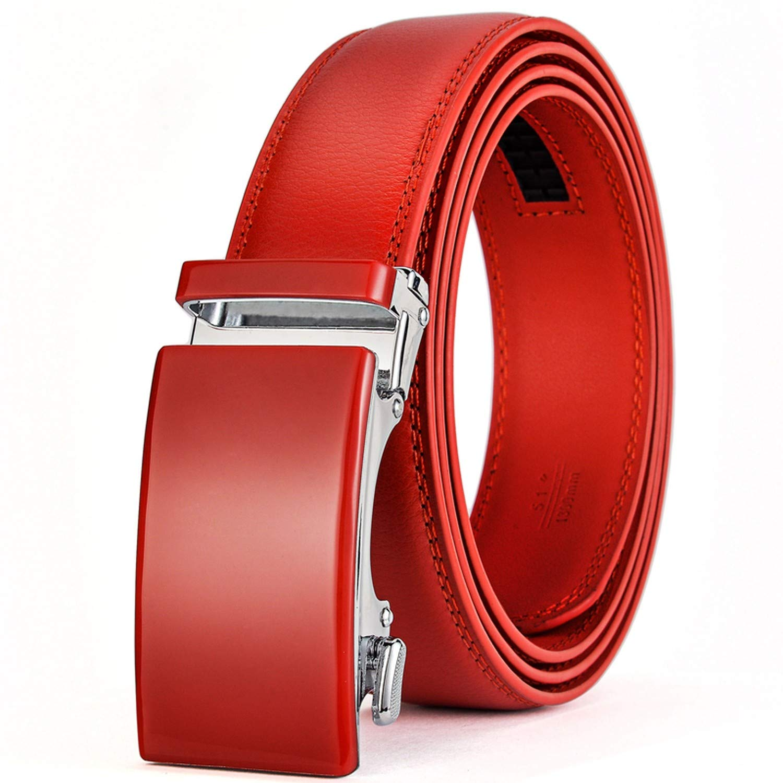 Romantico Genuine Leather Belt Men Ratchet Dress Belt With Automatic Buckle Blue Red Light Brown Mens Belts B36,Black 2,130cm