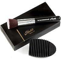 Kanddit – Pinceau de maquillage kabuki plat pour fond de teints liquides ou en poudre, poils synthétiques denses, nettoyeur de pinceau inclus