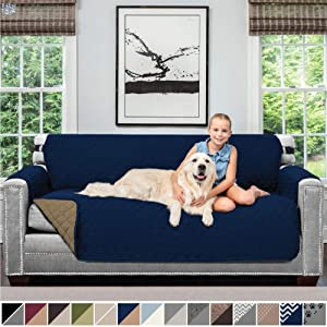 Sofa Shield Original Patent Pending Reversible Sofa Slipcover, 2 Inch Strap Hook, Seat Width Up to 70 Inch Furniture Protector, Couch Slip Cover Throw for Pets, Kids, Cats, Sofa, Navy Sand