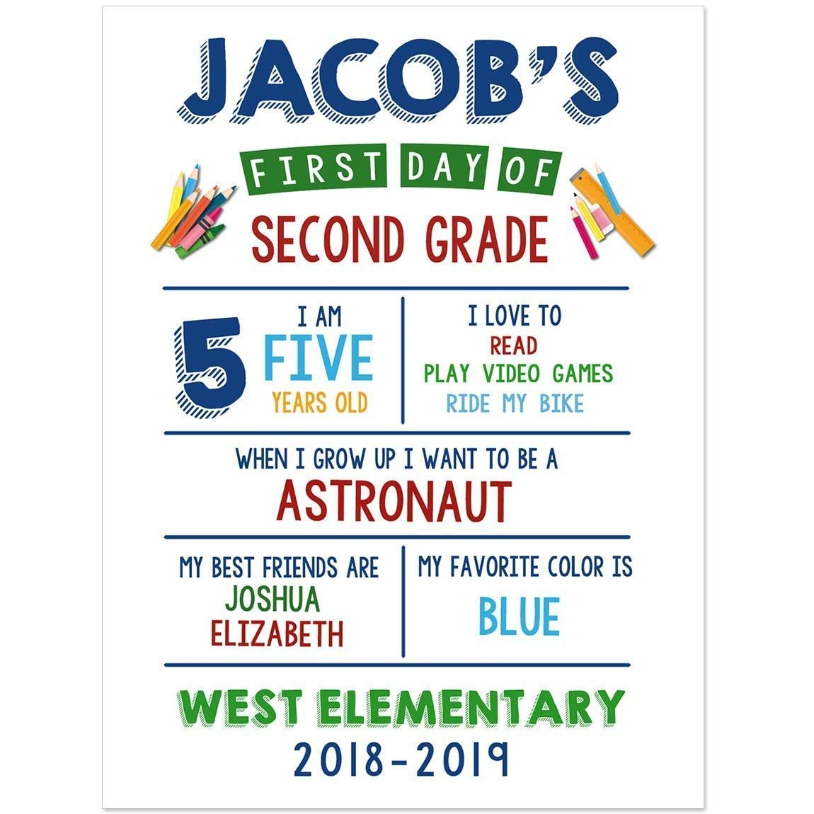 First Day of School Chalkboard Sign Photo Prop Poster